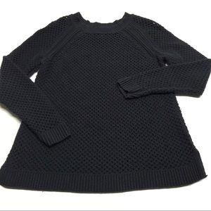 ❤️ Old Navy Netted Black Sweater Raglan Sleeves